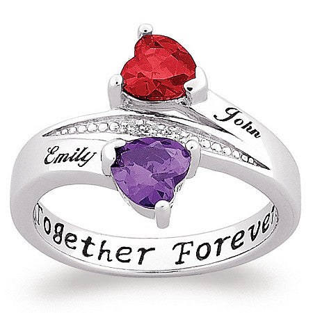 Personalized Couple's Birthstone Heart Name Ring