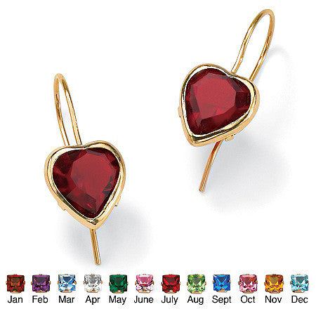 Heart-Shaped Birthstone Gold Drop Earrings