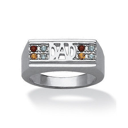 "Men's Birthstone ""Dad"" Family Ring - Platinum Plated"