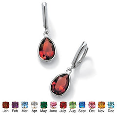 Pear-Cut Birthstone Drop Earrings