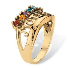 "Personalized 14k Yellow Gold-Plated ""Grandma/Mother"" Family Ring"