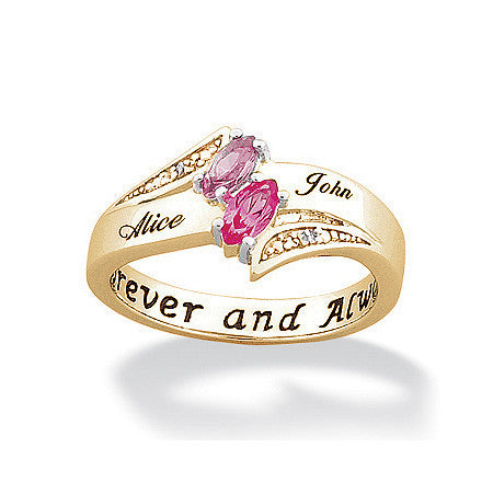 Personalized Couple's Marquise Birthstone & Name Ring