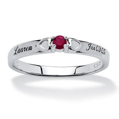 Personalized Double Heart Birthstone Ring