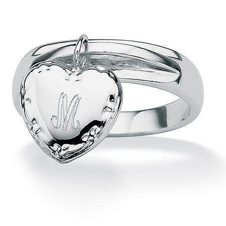 Personalized I.D. Heart Charm Initial Ring