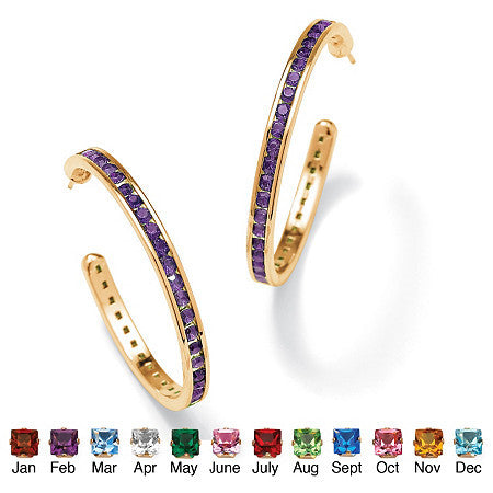 Round Birthstone Channel-Set Hoop Earrings