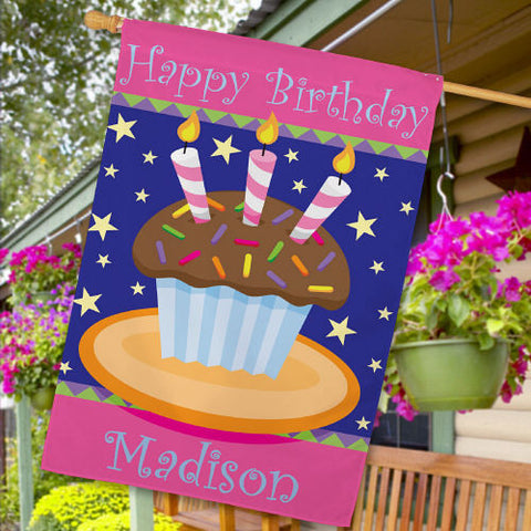 Personalized Birthday Cake Garden Flag