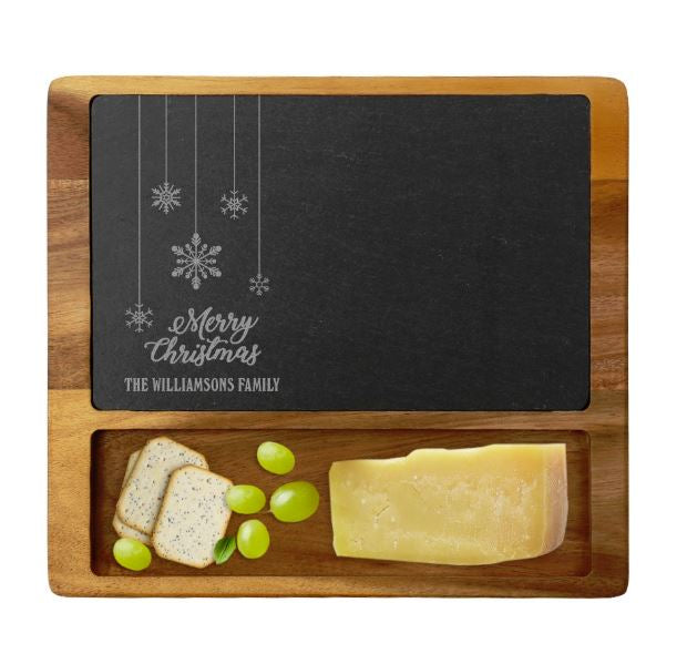 Personalized Merry Christmas Family Cheese Slate Board w/Acacia Wood Base