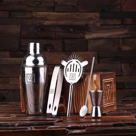 Personalized 5pc Cocktail Shaker Mixer Set With Wood Storage Box