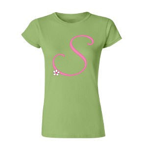 Personalized Any Initial Ladies Fitted T-Shirt