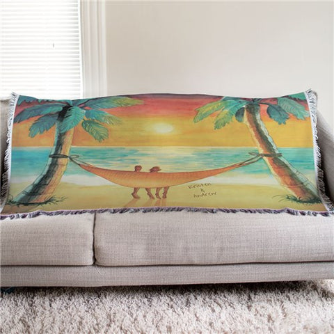 Personalized Beach Sunset Tapestry Throw