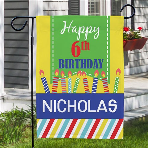 Personalized Birthday Candles Garden Flag