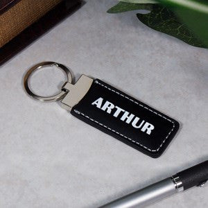Personalized Black Leather Name or Initial Keychain
