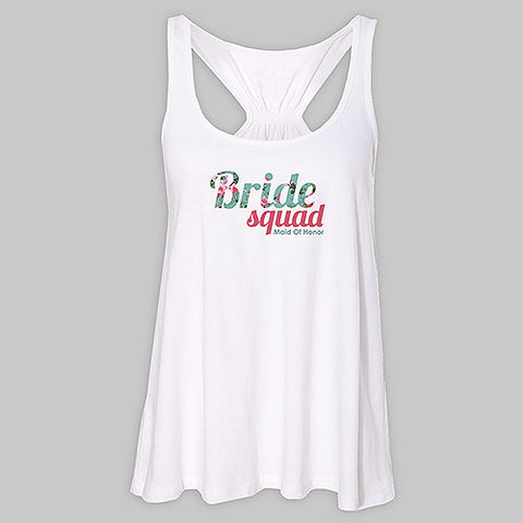 Personalized Bride Squad White Tank Top