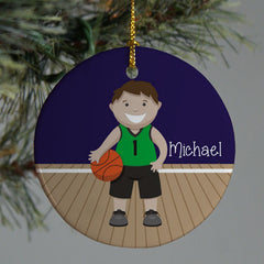 Personalized Ceramic Boy or Girl Basketball Ornament