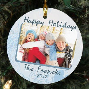 Personalized Ceramic Happy Holidays Photo Ornament