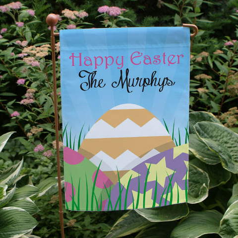 Personalized Easter Eggs Garden Flag