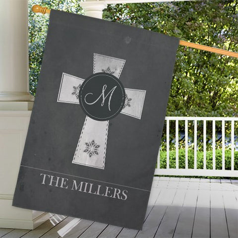 Personalized Family Cross House Flag