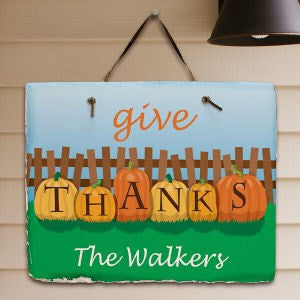 Personalized Give Thanks Welcome Slate Plaque