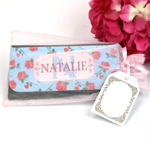 Personalized Large Floral Leatherette Wallet Gift Set
