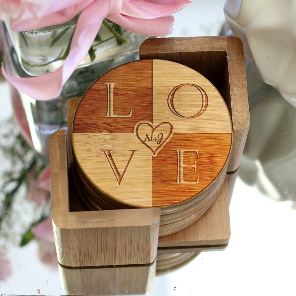 "Personalized Engraved Bamboo Coaster Set ""LOVE"""