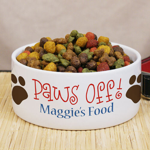 Personalized Paws Off Ceramic Dog Bowl