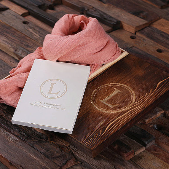 Shawl & Personalized Journal Gift Set with Wood Box