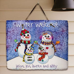 Personalized Snowman Family Slate Plaque