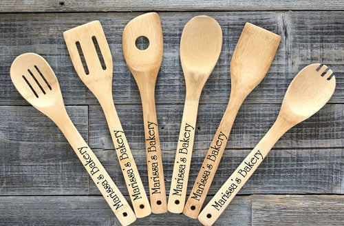 Personalized Bamboo Kitchen Cooking Utensils