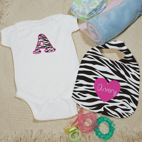 Personalized Zebra Print Bib and Creeper Set