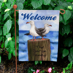 Personalized Summer Garden Flag - Seagull Design