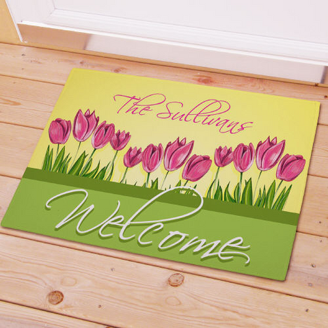 Spring Tulips Personalized Doormat