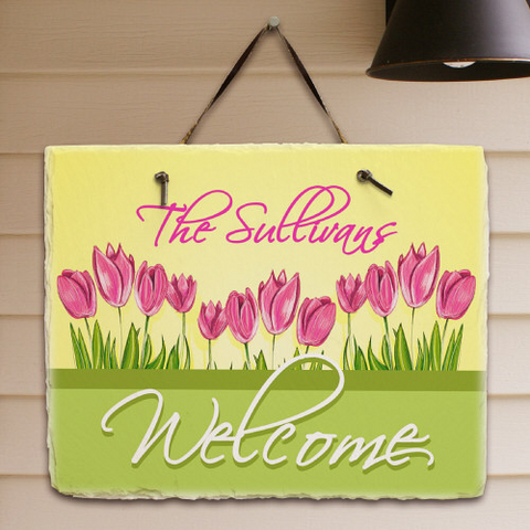 Spring Tulips Welcome Slate Plaque