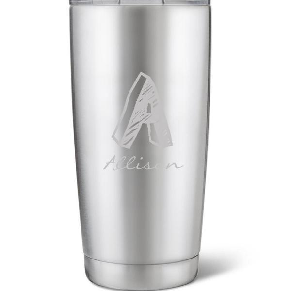 Stainless Steel Brushed Initial Mug