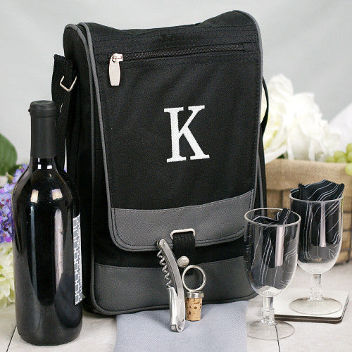 Wine Tote with Embroidered Initial