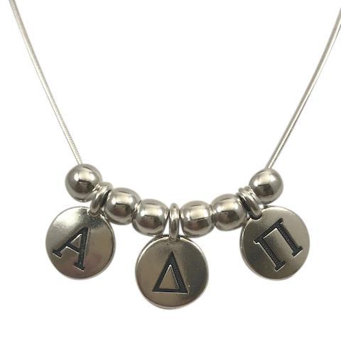 Alpha Delta Pi Necklace with Greek Letter Charms