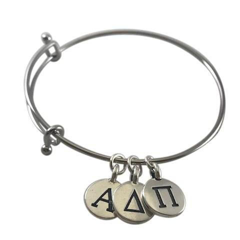 Alpha Delta Pi Bangle Bracelet with Greek Letter Charms