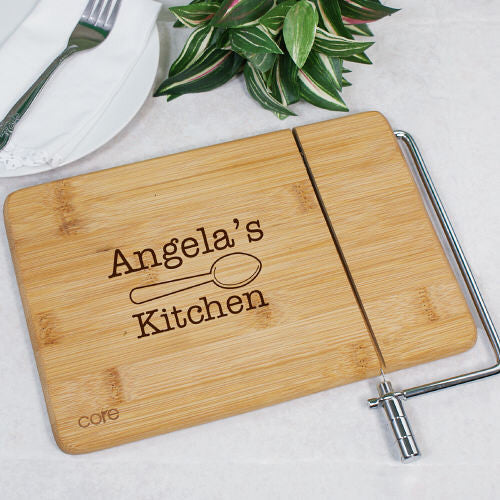 Engraved Bamboo Kitchen Cheese Board and Slicer