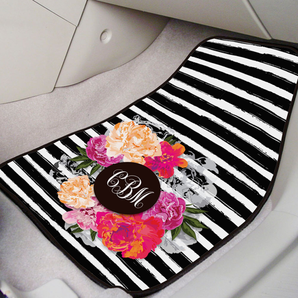 Personalized Floral Monogram Car Mats
