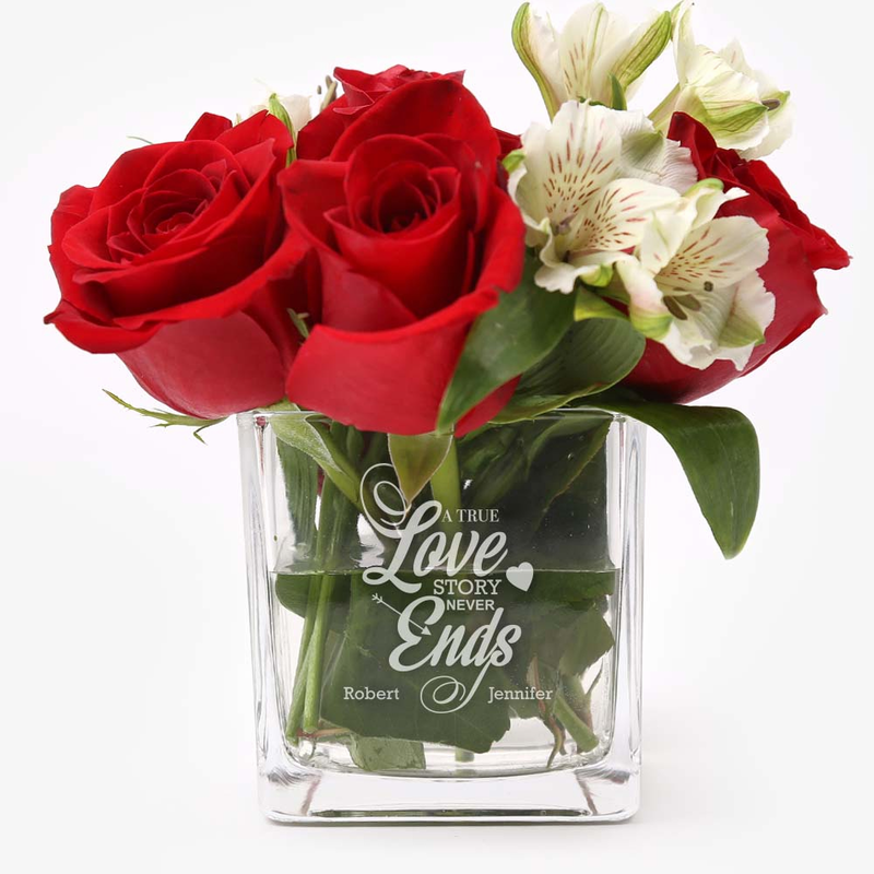 Custom Love Story Cube Glass Vase