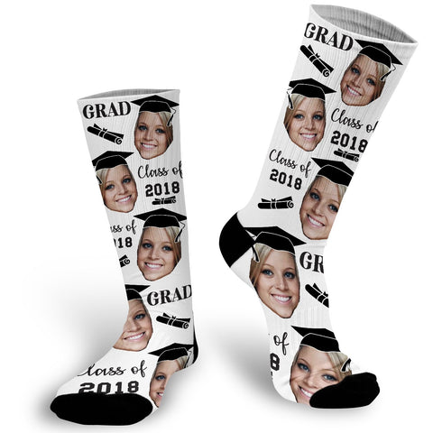 Graduation Face Photo Socks