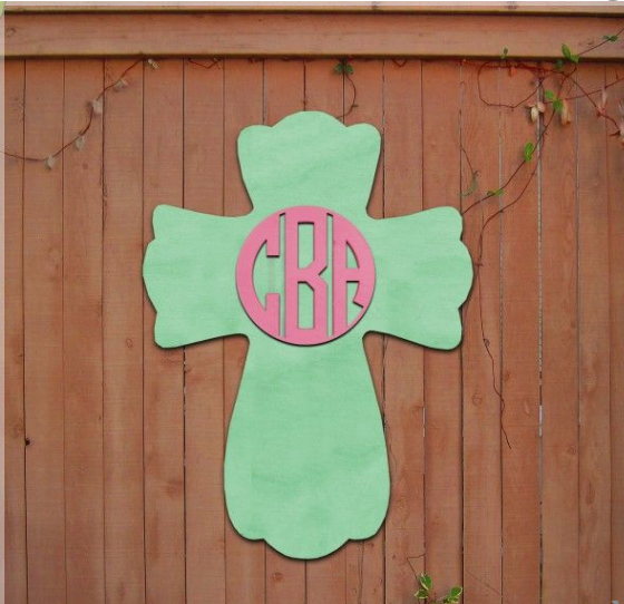 Wooden Monogram Easter Cross