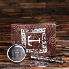 Personalized Flask, Cigar Holder and Cutter with Wood Box