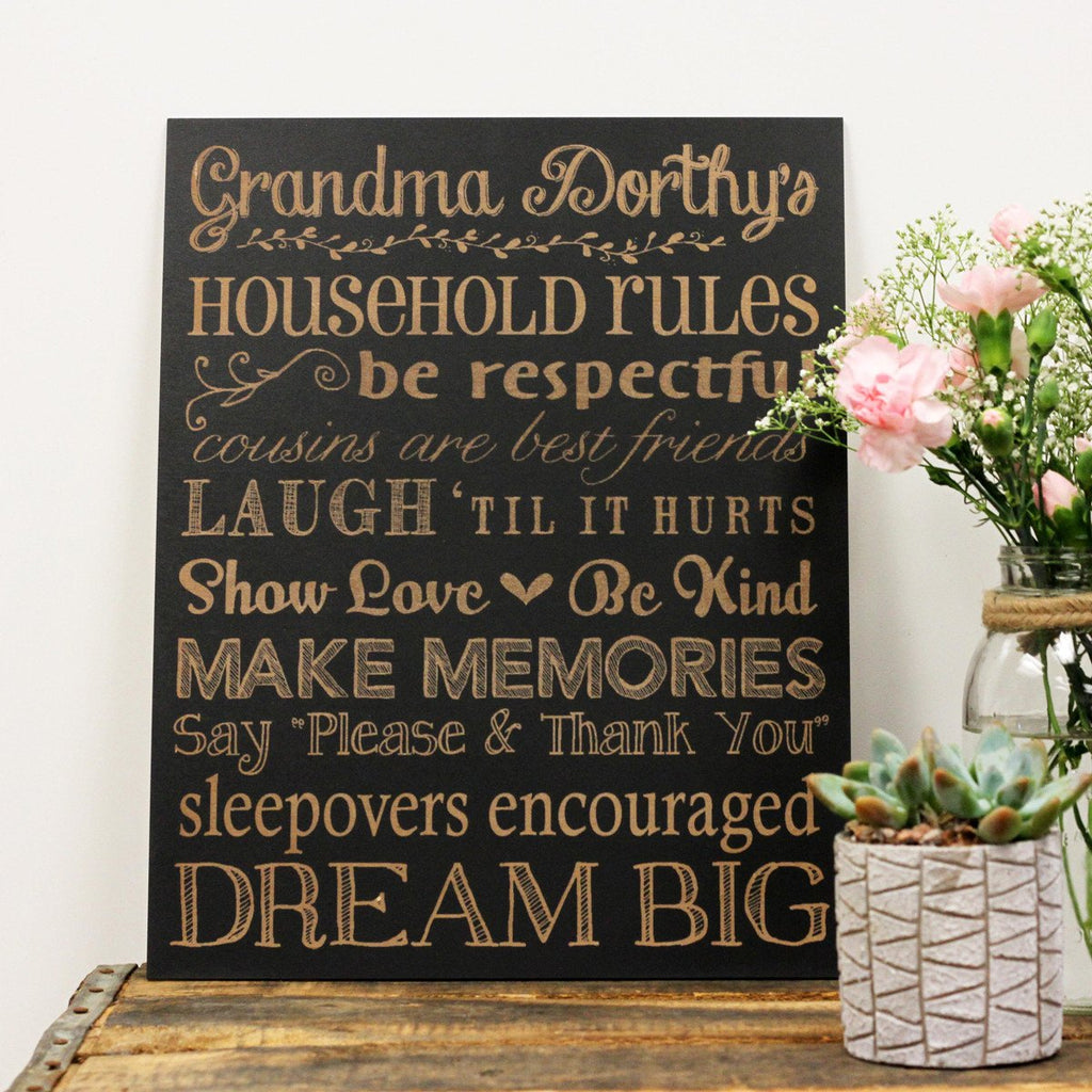Grandma's Rules Chalkboard Sign