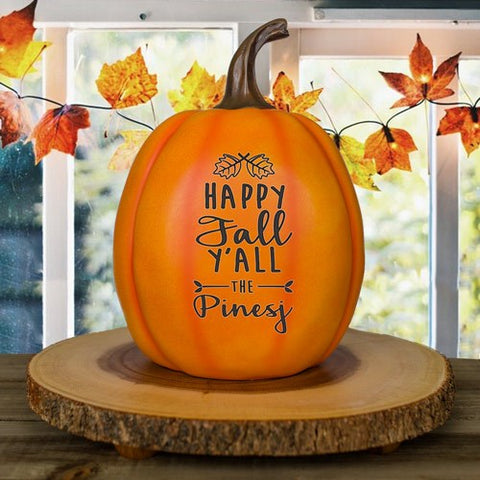 Personalized Happy Fall Yall Large Pumpkin
