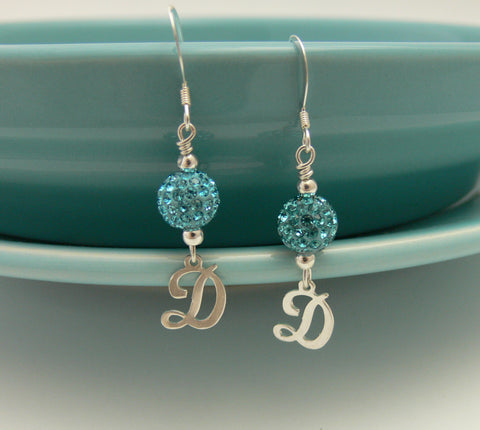 Bling Ball Birthstone Earrings With Initial