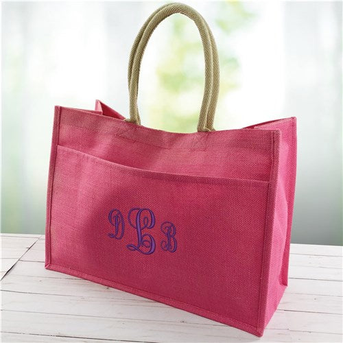 Jute Pocket Tote Bag