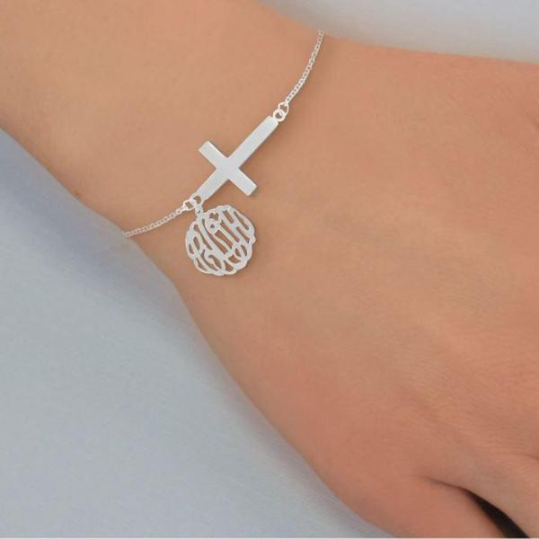 Personalized Monogram Bracelet with Sideways Cross