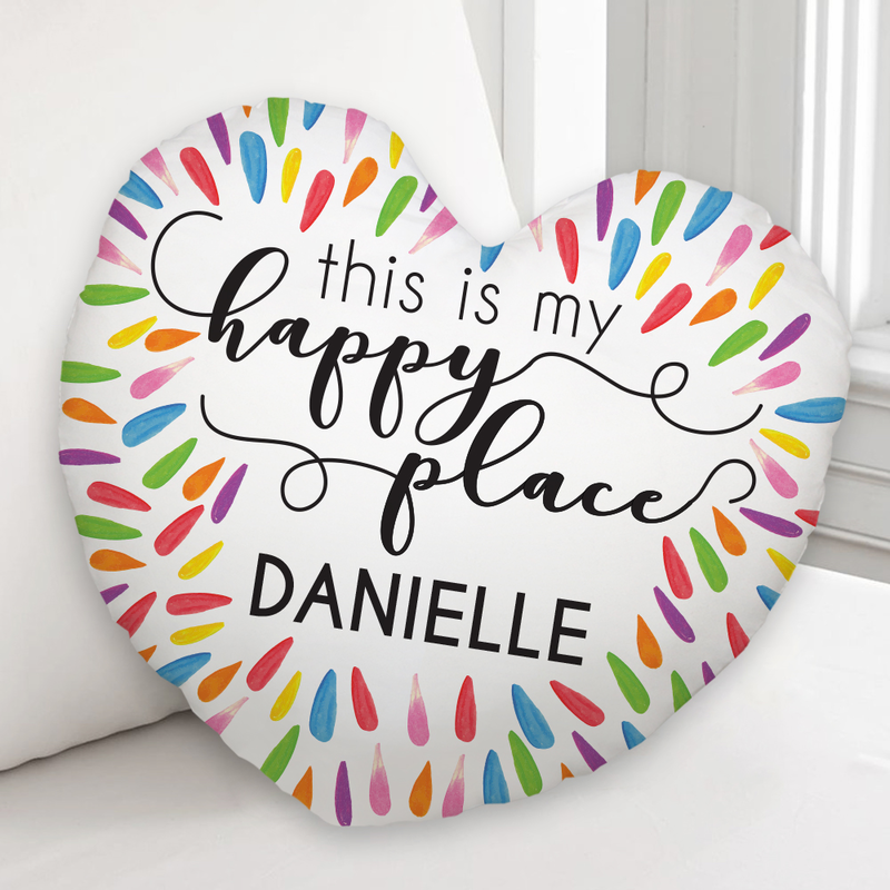 My Happy Place Heart Shaped Custom Cushion