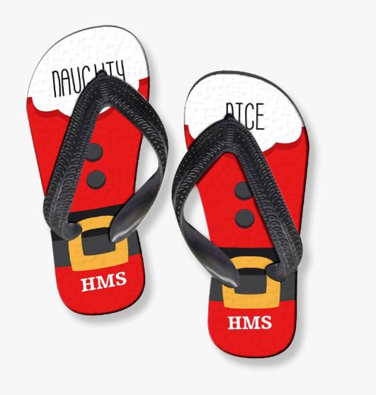 Personalized Naughty and Nice Adult Flip Flops