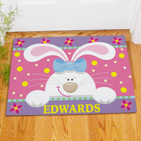 Personalized Easter Bunny Welcome Doormat
